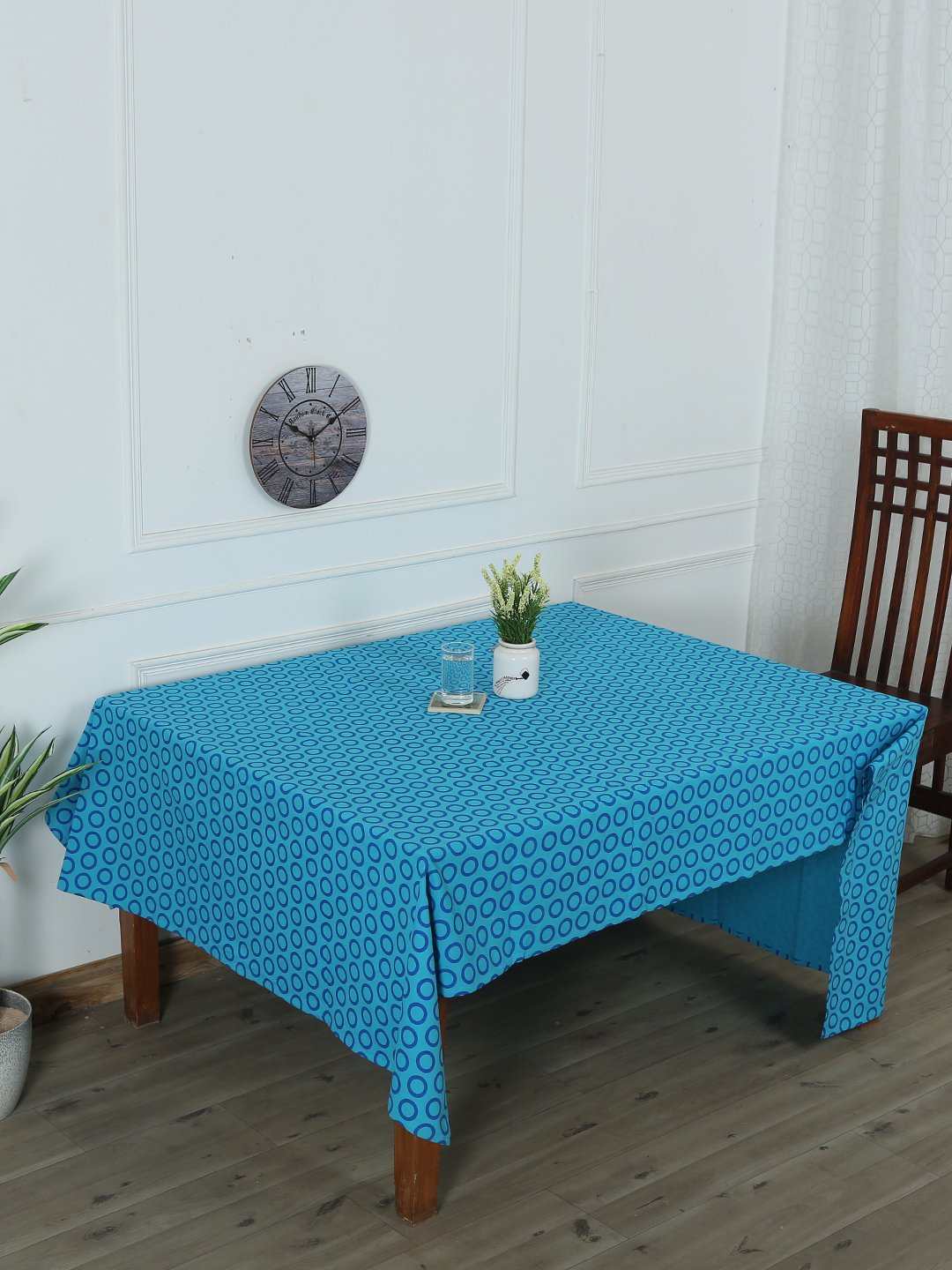 Handcrafted Azure Artistry Table Cover