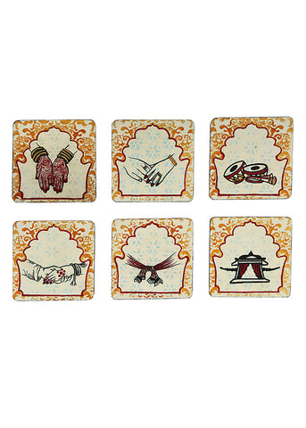 Hand-painted Wedding Trails Coaster Set