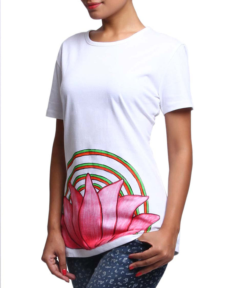 Hand-painted Lotus Aura T-shirt - RANGRAGE  - 1