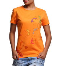 Hand-painted Warli Dance Orange T-shirt - RANGRAGE  - 1