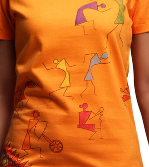Hand-painted Warli Dance Orange T-shirt - RANGRAGE  - 2
