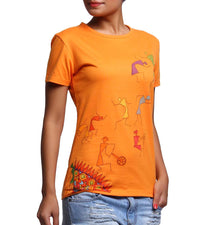 Hand-painted Warli Dance Orange T-shirt - RANGRAGE  - 3
