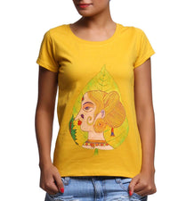 Hand-painted Leaf Face T-shirt - RANGRAGE  - 1