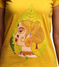Hand-painted Leaf Face T-shirt - RANGRAGE  - 2