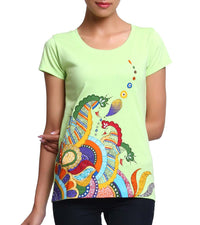 Hand-painted Heena Peacocks T-shirt - RANGRAGE  - 1