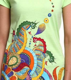 Hand-painted Heena Peacocks T-shirt - RANGRAGE  - 3