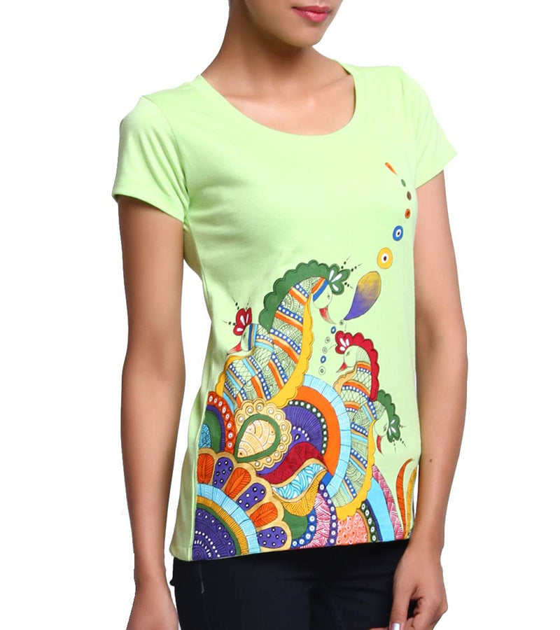 Hand-painted Heena Peacocks T-shirt - RANGRAGE  - 4