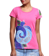 Hand-painted Mandana Peacock T-shirt - RANGRAGE  - 1