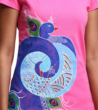 Hand-painted Mandana Peacock T-shirt - RANGRAGE  - 2