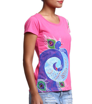 Hand-painted Mandana Peacock T-shirt - RANGRAGE  - 3