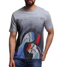 Hand-painted Raas Leela Grey T-shirt - RANGRAGE  - 1