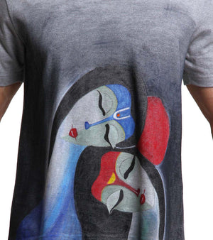 Hand-painted Raas Leela Grey T-shirt - RANGRAGE  - 2