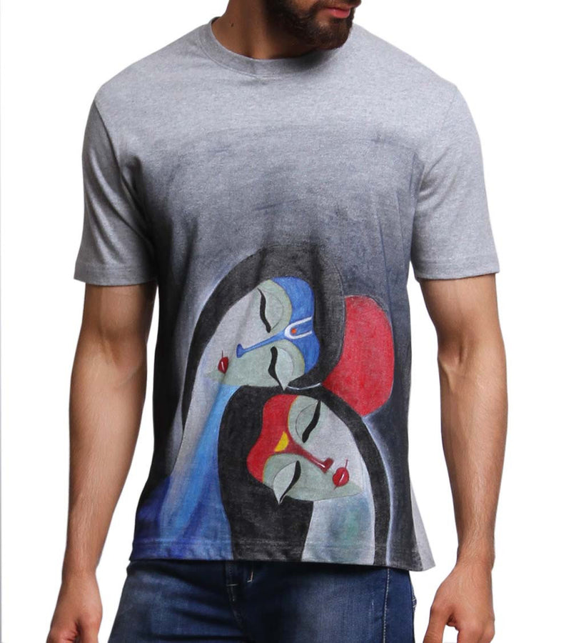 Hand-painted Raas Leela Grey T-shirt - RANGRAGE  - 3
