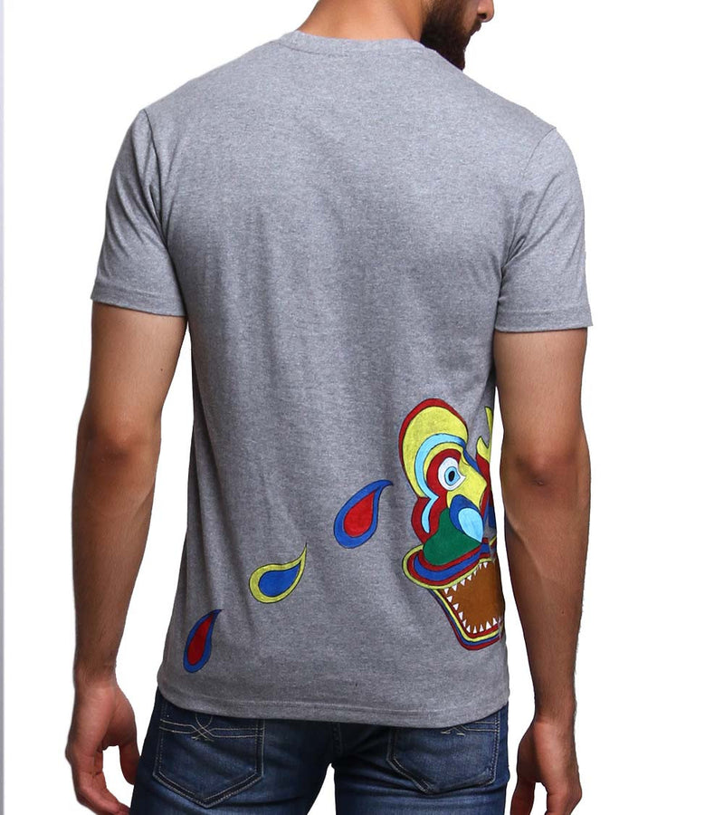 Hand-painted Colorful Mask Grey T-shirt - RANGRAGE