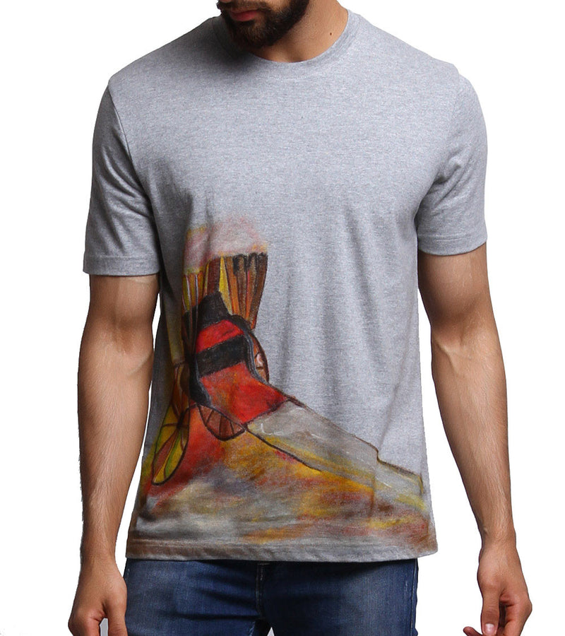 Hand-painted Rickshaw Grey T-shirt - RANGRAGE  - 1