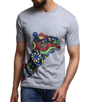 Hand-painted Colorful Camel Grey T-shirt - RANGRAGE  - 1