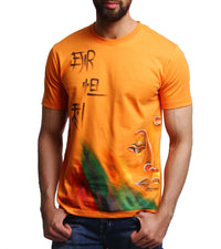 Hand-painted Meditating Buddha Orange T-shirt - RANGRAGE  - 1