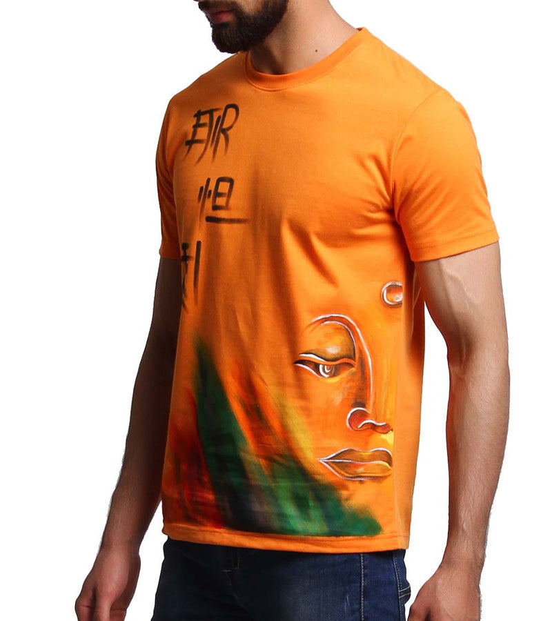 Hand-painted Meditating Buddha Orange T-shirt - RANGRAGE  - 2