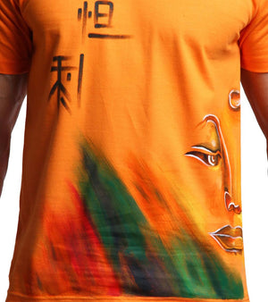 Hand-painted Meditating Buddha Orange T-shirt - RANGRAGE  - 3