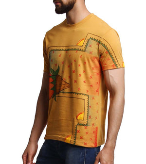Hand-painted Auspicious Kalash Yellow T-shirt - RANGRAGE