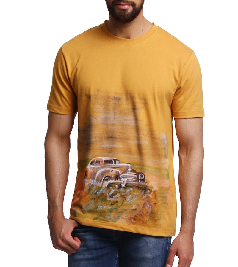 Hand-painted Vintage Car Yellow T-shirt - RANGRAGE  - 1
