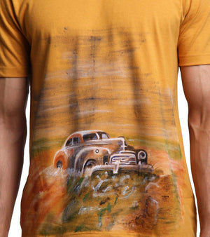 Hand-painted Vintage Car Yellow T-shirt - RANGRAGE  - 3