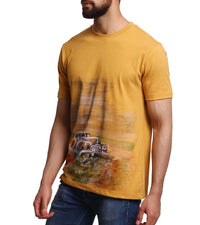 Hand-painted Vintage Car Yellow T-shirt - RANGRAGE  - 4