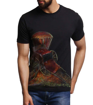 Hand-painted Rickshaw Black T-shirt - RANGRAGE  - 1
