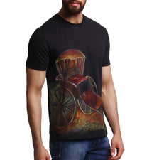 Hand-painted Rickshaw Black T-shirt - RANGRAGE  - 2