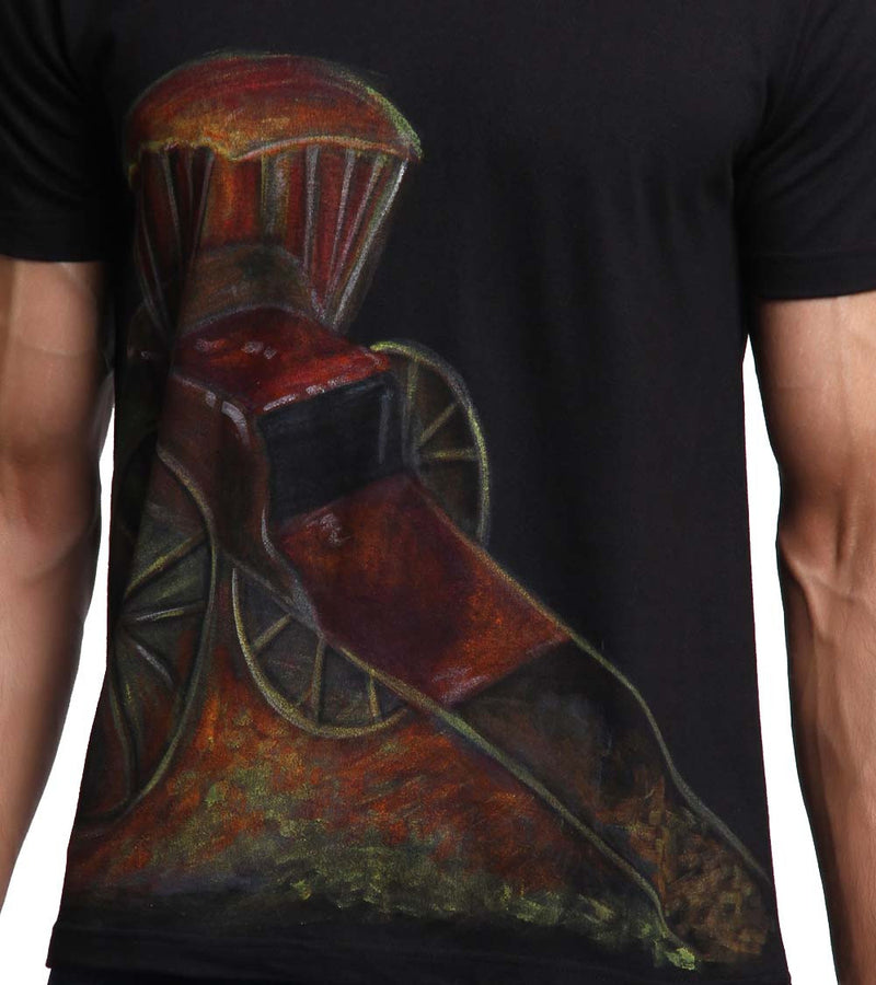 Hand-painted Rickshaw Black T-shirt - RANGRAGE  - 3