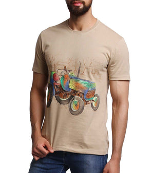 Hand-painted Tractor Beige T-shirt - RANGRAGE  - 1