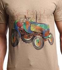 Hand-painted Tractor Beige T-shirt - RANGRAGE  - 2