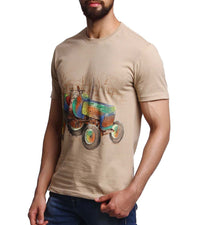 Hand-painted Tractor Beige T-shirt - RANGRAGE  - 3