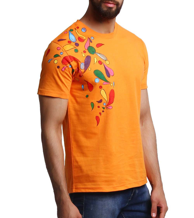 Hand-painted Headphone Music Orange T-shirt - RANGRAGE  - 1