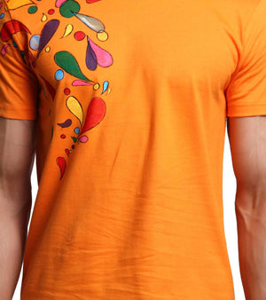 Hand-painted Headphone Music Orange T-shirt - RANGRAGE  - 2