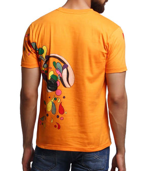 Hand-painted Headphone Music Orange T-shirt - RANGRAGE  - 3