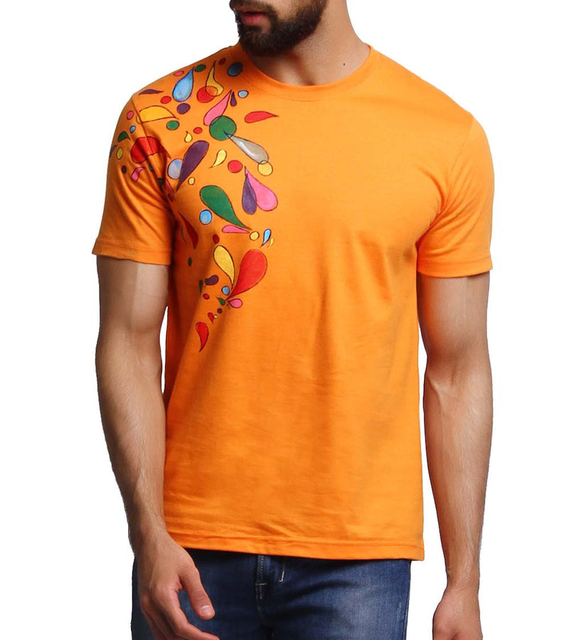 Hand-painted Headphone Music Orange T-shirt - RANGRAGE  - 4