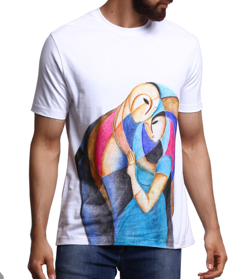 Hand-painted Abstract Couple T-shirt - RANGRAGE