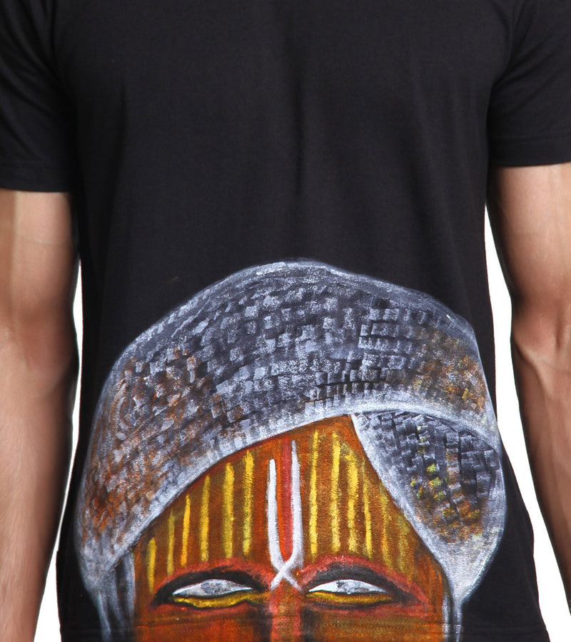 Hand-painted Indian Pandit Black T-shirt - RANGRAGE  - 2