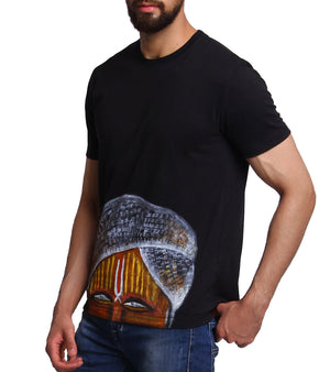 Hand-painted Indian Pandit Black T-shirt - RANGRAGE  - 3