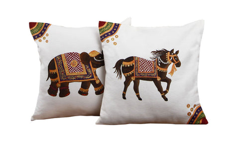 Hand-painted  Miniature Animal Cushion Covers (Set of 2)