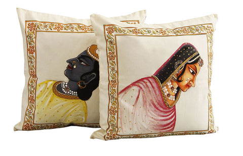 Hand-painted Maharaja & Maharani Cushion Covers (Set of 2)