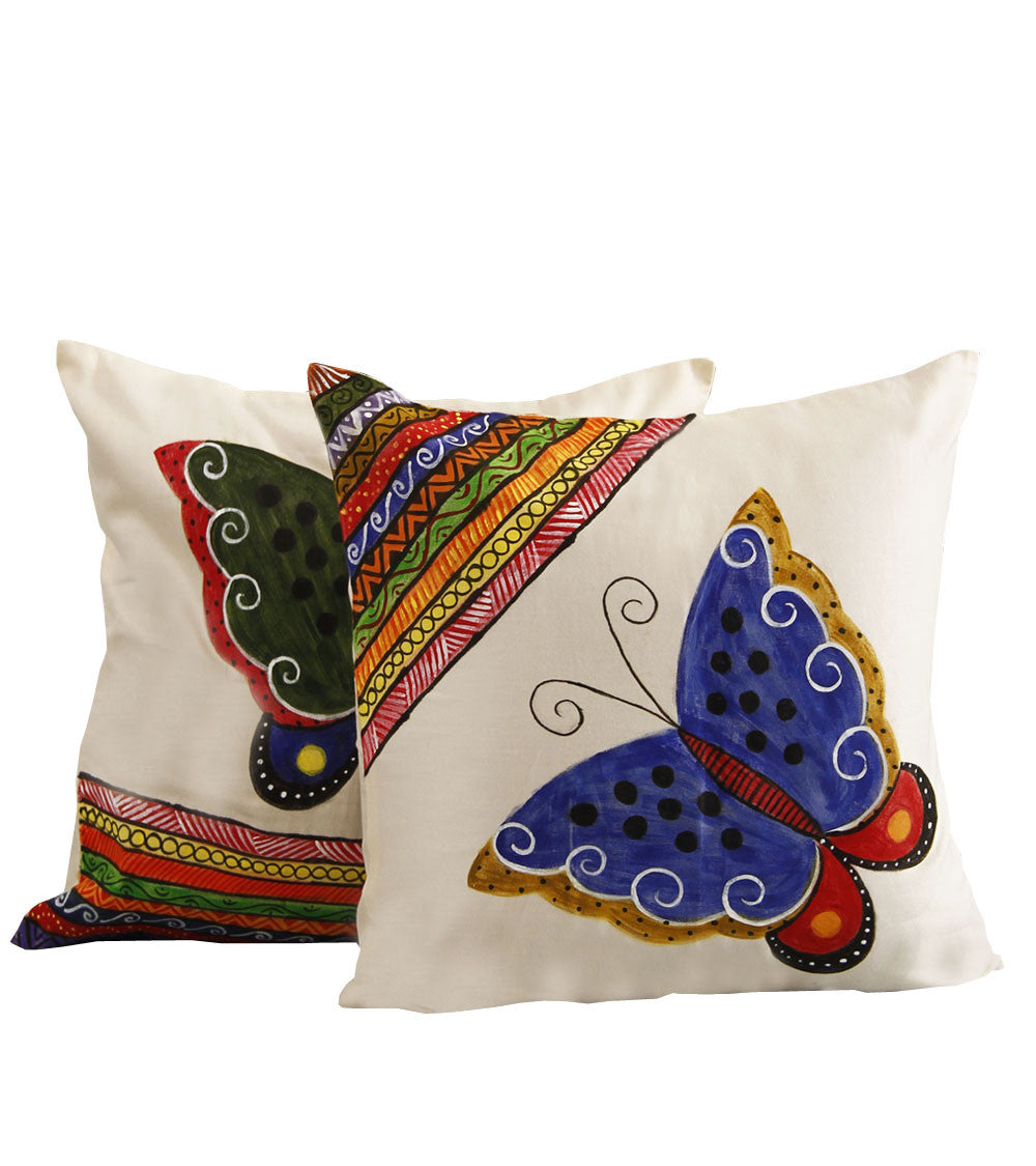 Hand-painted Butterfly  Cushion Covers (Set of 2) - RANGRAGE