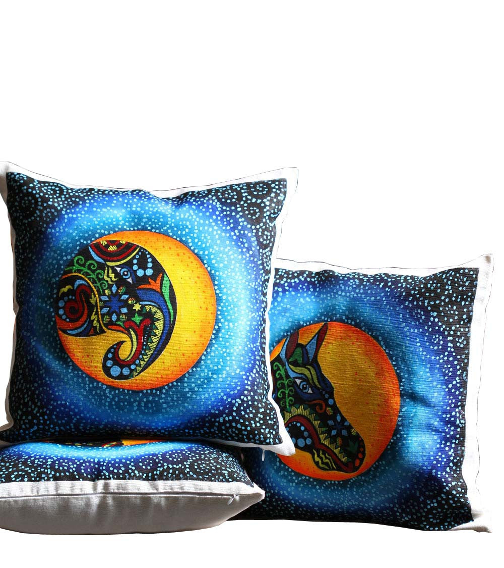 Hand-painted Animal Trio Cushion Covers  (Set of 3) - RANGRAGE