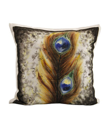 Hand-painted Peacock Feather Cushion Cover - RANGRAGE