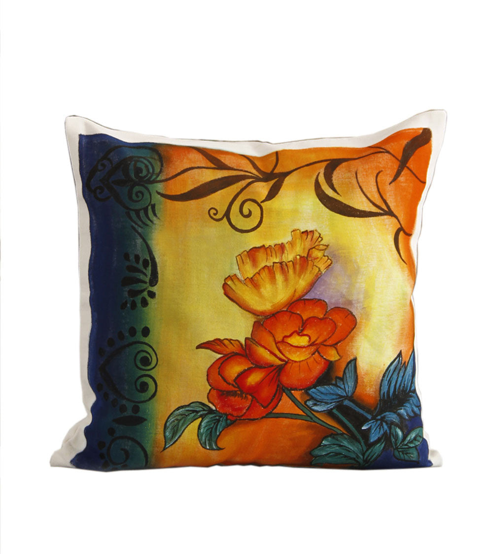 Hand-painted Floral Abstract Cushion Cover - RANGRAGE