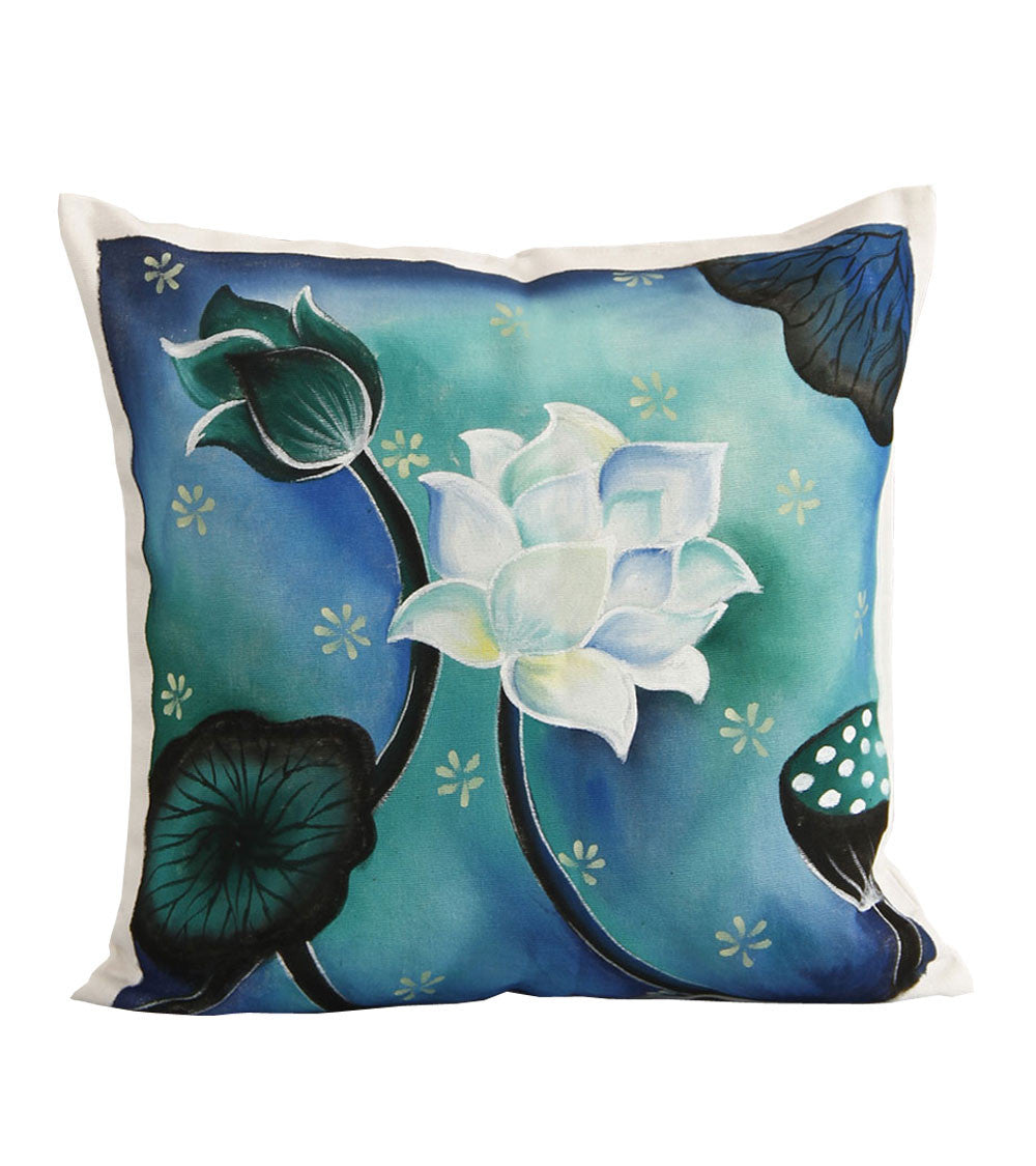 Hand-painted  Lotus Scene Cushion Cover - RANGRAGE