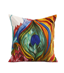 Hand-painted Peacock Lotus Cushion Cover - RANGRAGE
