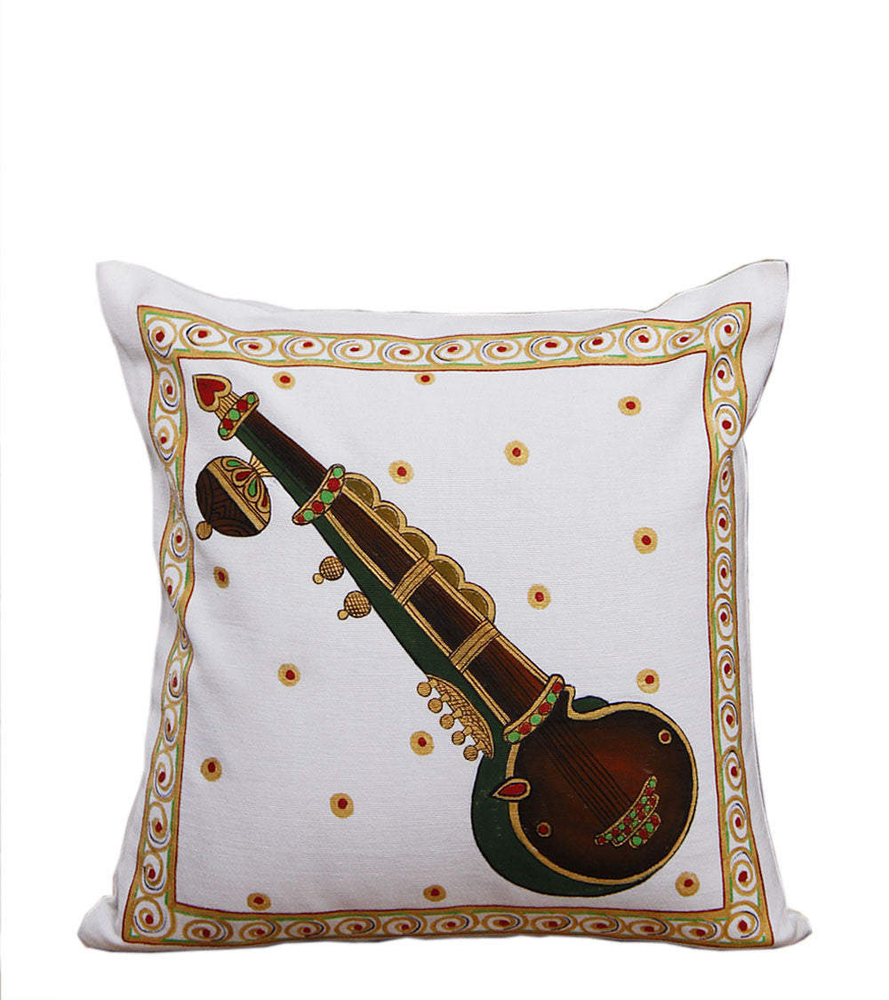 Hand-painted Tanjore Sitar Cushion Cover - RANGRAGE