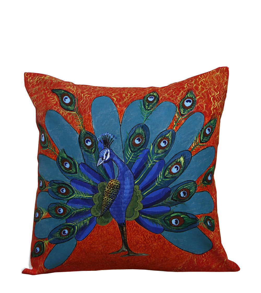 Hand-painted Dancing Peacock Cushion Cover - RANGRAGE